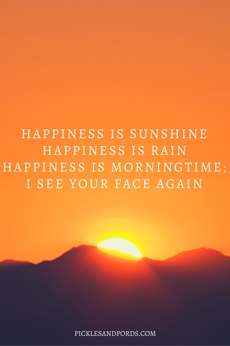 Happiness is sunshineHappiness is rainHappiness is morningtime;I see your face again.